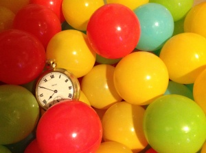 Clock in ball pit