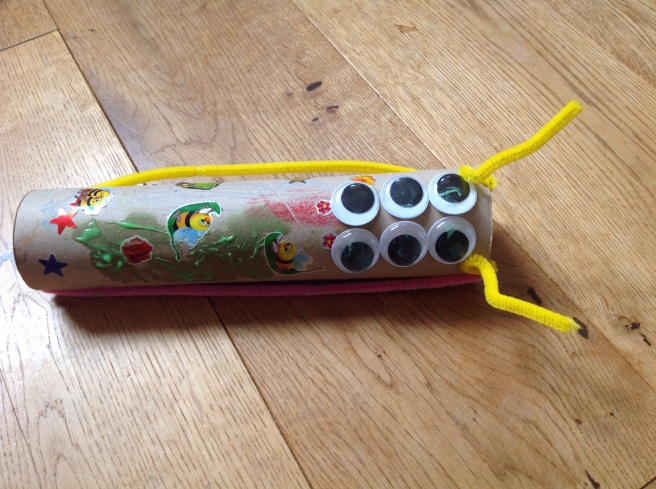 Kitchen towel. Tube with multiple google eyes and a few stickers