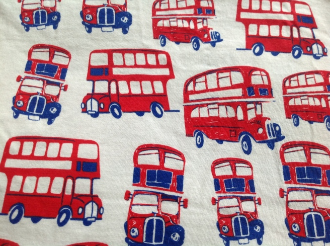 A snippet of a t-shirt COVERED in London buses. Not subtle