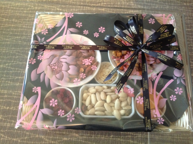 Welcome basket of dried fruit and nuts