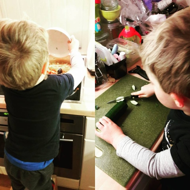 Boy tipping veg into pan next to pic of boy chopping courgette
